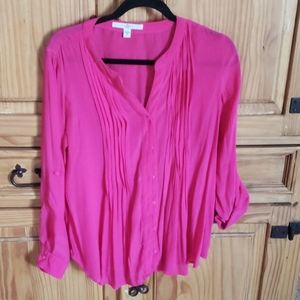 Pink sheer blouse. Pintuck detailing